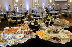 Banquet hall with lots of food